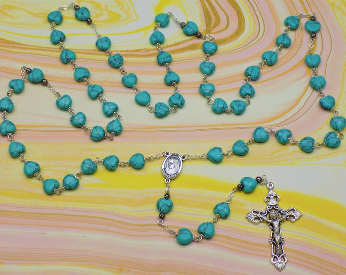 Turquoise Rosary - S/P Turquoise Heart Beads - Silver Accent Beads - Italian Our Lady of Medjugorje Earth Center - Italian Filigree Crucifix
