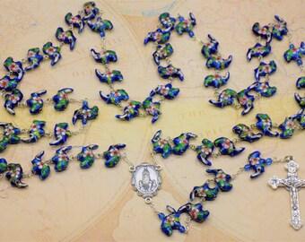 Blue Cloisonné Elephant Rosary - Blue Cloisonné Elephant Beads - Italian Our Lady of Fatima Center - Italian Eucharistic Crucifix