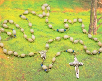 Job's Tear Rosaries - Natural Job's Tears Beads - Center Contains Water from Lourdes, France -  Italian Silver Angels Crucifix