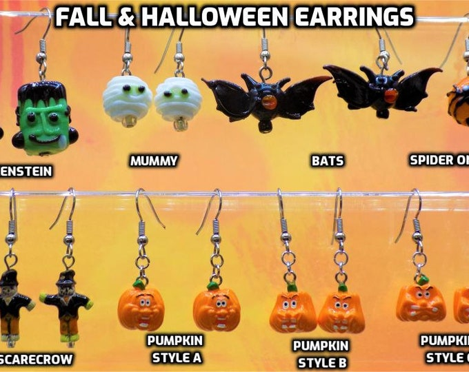Fall & Halloween Earrings - Frankenstein, Mummy, Bats, Scarecrow, Spider and Pumpkins (3 Different Faces) -8 Different Styles to Choose From