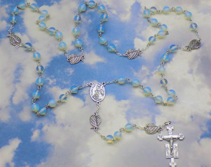 Guardian & Archangel Rosary - Semi Precious Moonstone Opal Beads - Angel Wings - Italian Guardian Angel Center - Italian Angels Crucifix