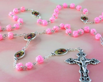 Mary Undoer of Knots Rosary - Polyester 6mm Pink Knot Beads -Italian Mary Undoer of Knots Father Beads and Center -Italian Filigree Crucifix