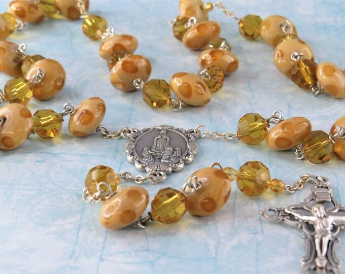 Honey Lampwork Glass Rosary - Tan and Honey lampwork Dot Glass Beads - Crystal Honey Beads -Italian Fatima Center -Italian Filigree Crucifix