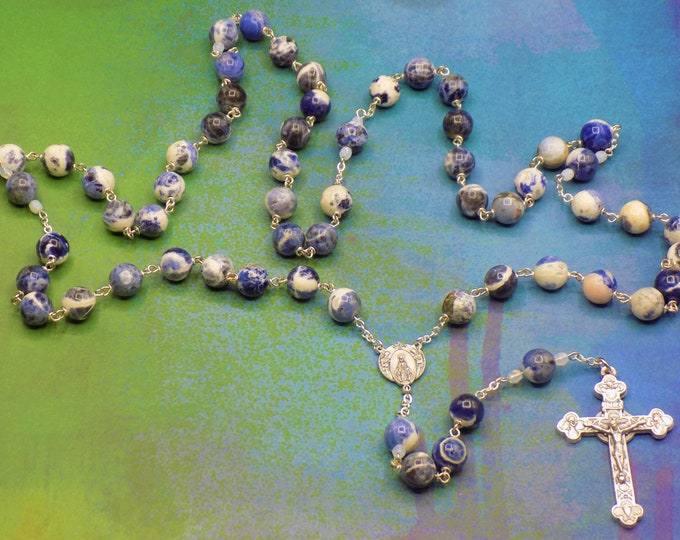 Sodalite Rosary - Semi Precious Sodalite Beads -Czech Opal Father Accent Beads - Italian Mary & Angels Center - Italian Eucharistic Crucifix
