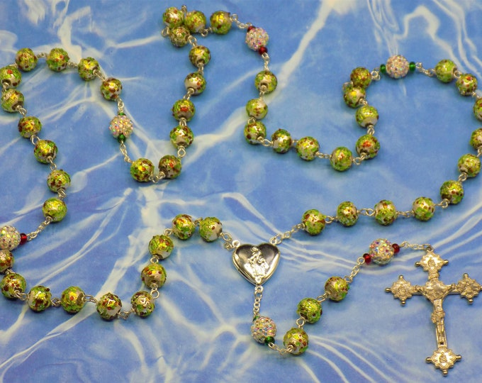 Textured lampwork Glass Rosary - Textured lampwork Glass Beads - Crystal Pave Beads - Italian Mary Locket Center - Italian Fancy Crucifix