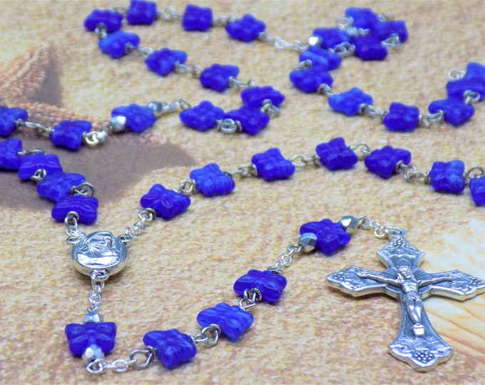 Blue Butterfly Rosary - Czech Royal Blue Crystal Butterfly Beads - Mary Center with Earth from Jerusalem - Italian Grapes and Vine Crucifix