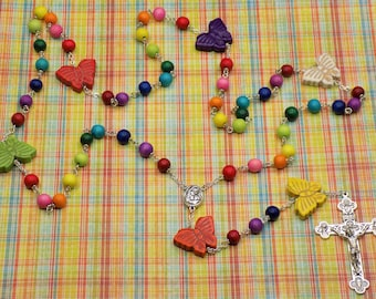 Butterfly Rosary - Rainbow Colored Hand-Waxed Cheesewood Beads - Stone Butterfly Father Beads - Mary & Child Center - Eucharistic Crucifix