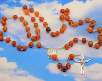 Fire Agate Amber Rosary - Semi Precious Fire Agate Amber 10mm Beads - Italian Holy Face Center - Italian Holy Trinity Crucifix