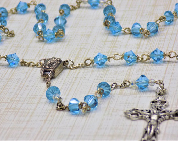 Czech Aquamarine Rosary - Czech Aquamarine 6mm Diamond Cut Beads - Italian Center Contains Water from Lourdes - Italian Filigree Crucifix