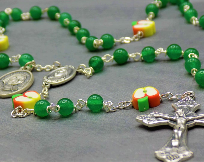 Teacher Rosary - S/P Green Candy Jade Beads - Polymer Apple Beads - Medjugorje Center - Italian Crucifix - St John Baptist De La Salle Medal