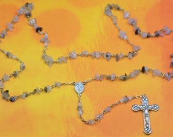 Tourmalinated Quartz Rosaries - Semi Precious Tourmalinated Quartz Nuggets - Italian Fatima Centers with Soil - Italian Hearts Crucifixes