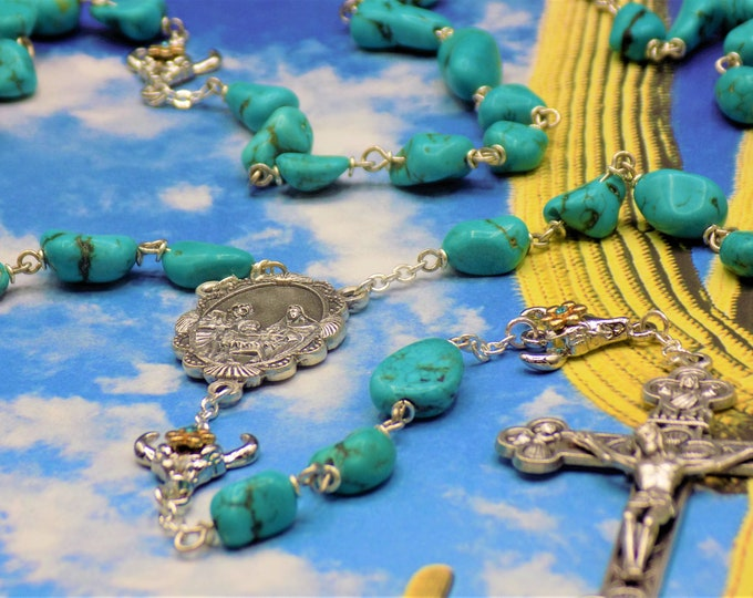 Turquoise Stone Rosary -Turquoise Magnesite Stone Nugget Beads -Rhodium Bullhead Skull Father Beads -Holy Family Center-Eucharistic Crucifix