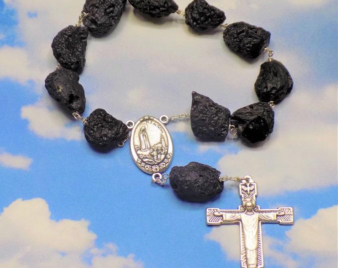 1-Decade Meteorite Stone Rosary - Natural Black Tektite Meteorite Stone Beads - Fatima Center & Earth - Italian Christ the Redeemer Crucifix