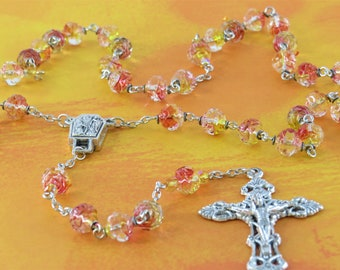 Czech Pink and Yellow Rosebud Rosary - Czech Pink & Yellow Rosebud Glass Beads -Italian Water from Lourdes Center -Italian Filigree Crucifix