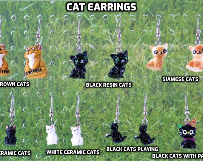 Cat Earrings - Brown Cats  - Black-Green Eyed Cats - Siamese Cats - White Cats - Black Cats - Black Cats Playing -Black Cats with Party Hats