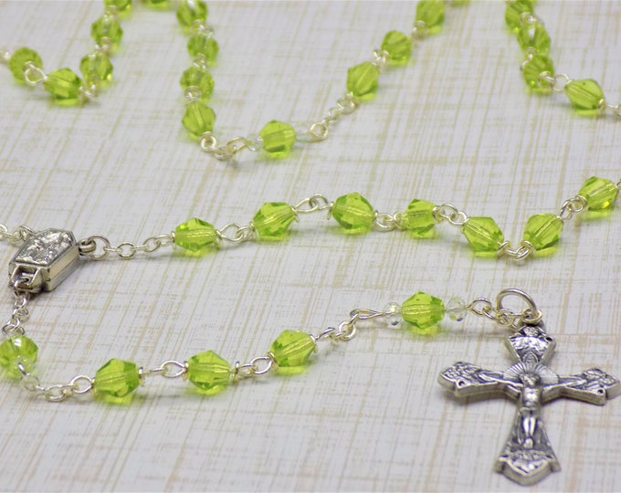 Czech Peridot Rosary - Czech Peridot 6mm Diamond Cut Beads - Italian Silver Center Contains Water from Lourdes - Italian Grapes Crucifix