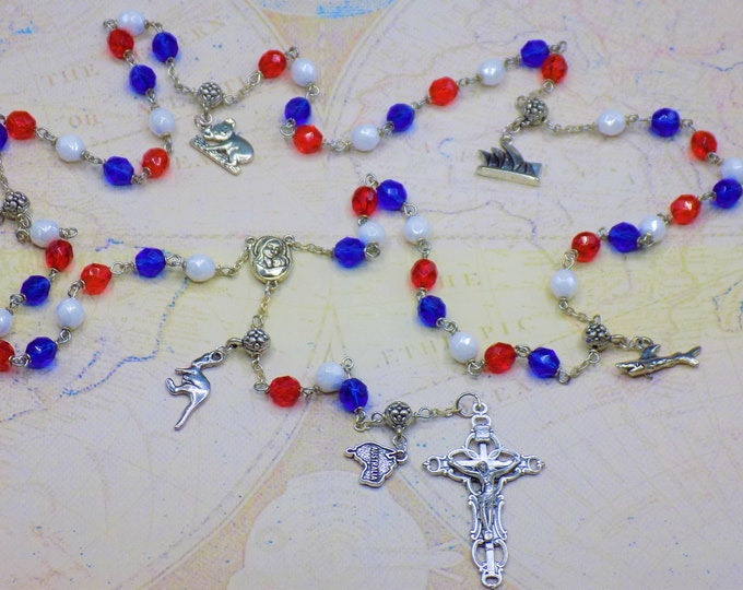 Rosary of Australia - Czech Blue, White & Red Glass Beads - Round Pewter Father Beads - Australian Charms - Mary with Soil Center -Crucifix