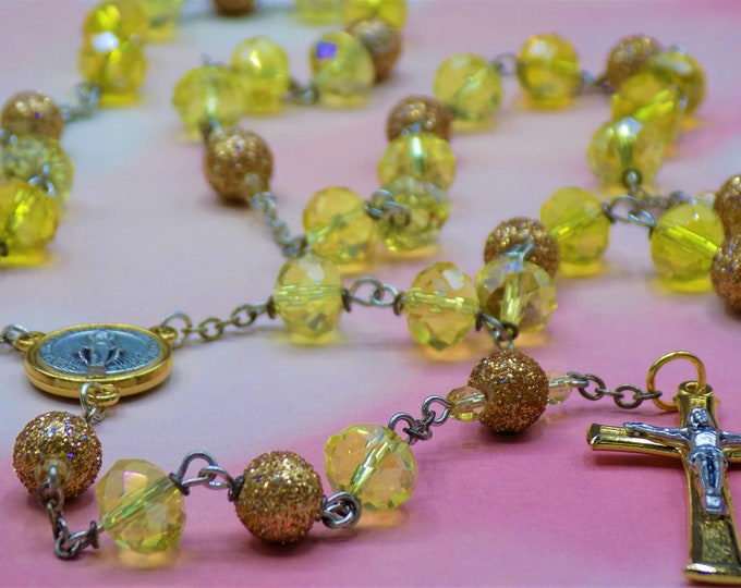 Yellow & Gold Glitter Rosary - Czech Various Yellow Crystal Beads - Gold Glitter Glass Beads - Italian Gold-Silver Mary Center and Crucifix