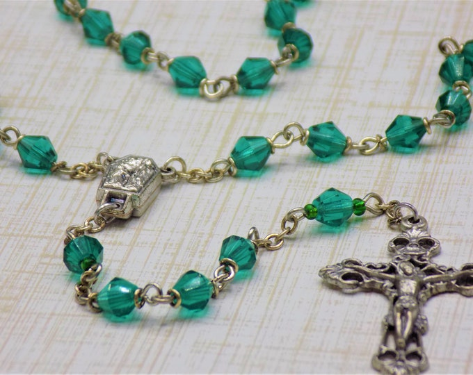 Czech Emerald Rosary - Czech Emerald 6mm Diamond Cut Beads - Italian Silver Center Contains Water from Lourdes - Italian Filigree Crucifix