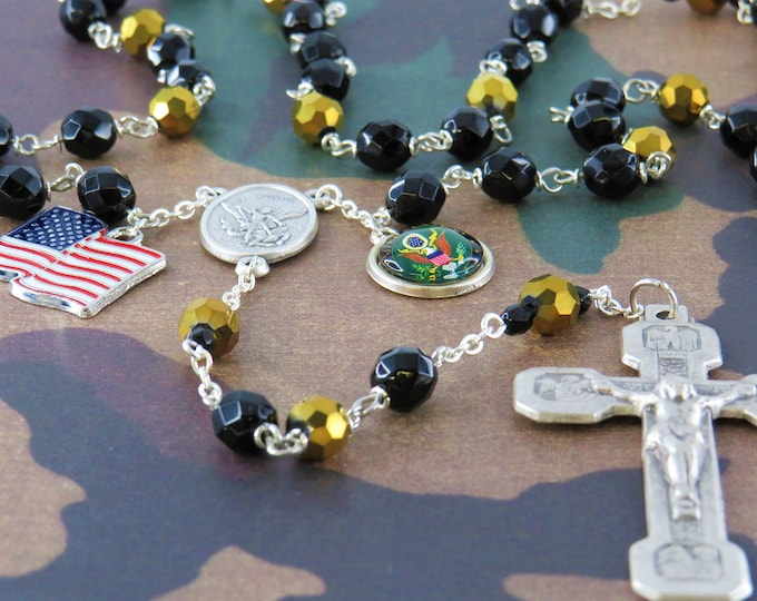 US Army Military Rosary - Czech Black and Gold Crystal Beads - St Michael Center - US Army Insignia Charm - Stations of the Cross Crucifix