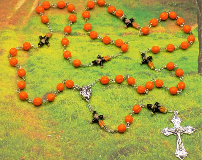 Harvest Pumpkin Rosary - Czech Orange Glass Pumpkin Beads - Scarecrow Ceramic Beads - Mary & Child Center - Italian Grapes and Vine Crucifix