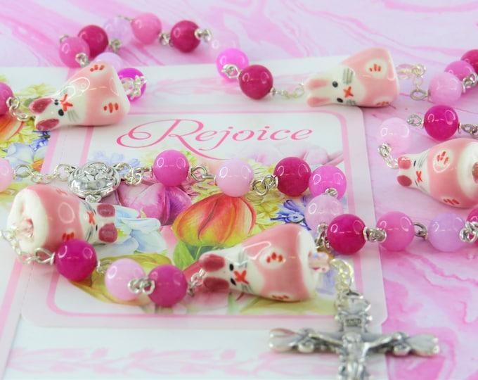 Easter Bunny Pink Jade Rosary - Semi Precious Pink Jade Beads - Ceramic Bunny Father Beads - Mary Earth Center - Italian Heart Tip Crucifix