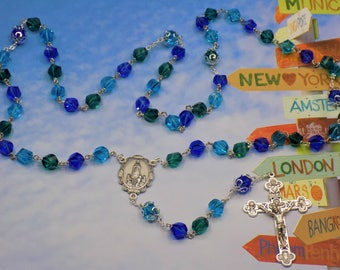 Fancy Cut Crystal Rosary - Aqua, Green & Blue Fancy Cut Crystal Beads - Italian Our Lady of Fatima Center -  Italian Eucharistic Crucifix