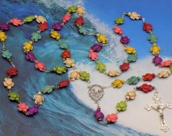 Stone Turtle Rosaries - Turquoise Blue & Multi Color Stone Turtle Beads - Italian Our Lady of Lourdes Center - Italian Eucharistic Crucifix