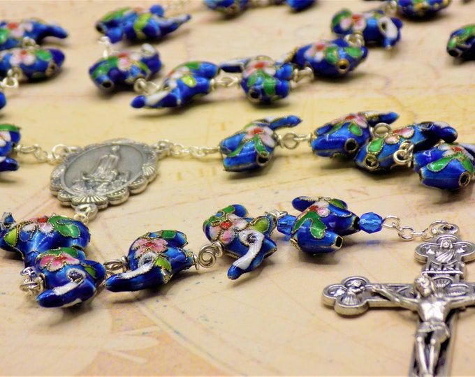 Blue Cloisonné Elephant Rosary - Blue Cloisonné Elephant Beads - Italian Silver Our Lady of Fatima Center - Italian Eucharistic Crucifix