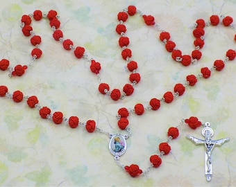 Fabric Bead Rosaries - Lightweight Knotted Rayon Fabric Beads - Czech Accent Beads - Italian Mary Centers - Italian Holy Trinity Crucifixes