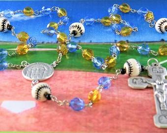 Baseball Rosary - Czech 8mm Gold & Blue Crystal Beads - Peru Ceramic Baseballs - Italian Silver Holy Face Center - Italian Stations Crucifix