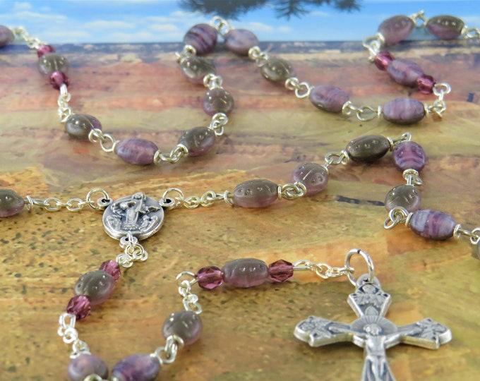 Czech Ladybug Rosary - Czech Purple & Silver Ladybug Glass Beads - Italian Our Lady of Medugorje Center - Italian Grapes and Vine Crucifix