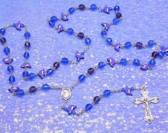 Dolphin Rosary -  Purple and Blue Dolphin Beads - Czech Blue and Purple Beads - Medugorje Center with Soil -Italian Grapes and Vine Crucifix