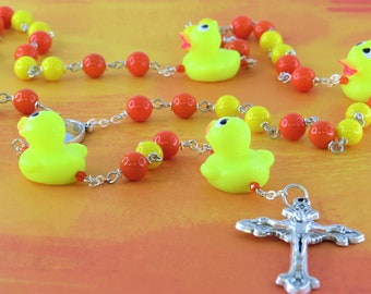 Rubber Ducky & Glass Rosary - Orange and Yellow Glass Beads - Rubber Duck Father Beads - Italian Pope Francis Center -Ital Sunburst Crucifix