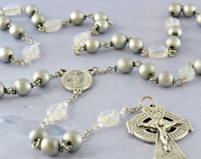 Czech Shamrock and Silver Wood Rosary - Czech Crystal Shamrock Beads - Silver Wood Beads  Italian St Patrick Center -Italian Cetric Crucifix