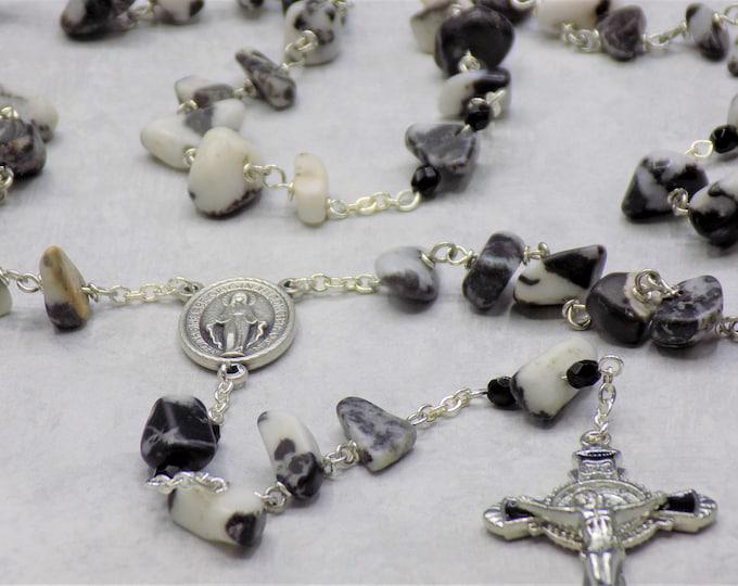 Zebra Jasper Rosary - Semi Precious Zebra Jasper Nugget Beads - Italian Miraculous Virgin Mary Center - Black Enamel St. Benedict Crucifix