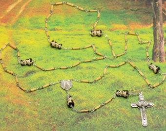 Panda Bear Bamboo Rosary - Natural Bamboo 2x9mm Beads - Ceramic Panda Bear with Bamboo Beads - Mary with Angels Center - Angels Crucifix