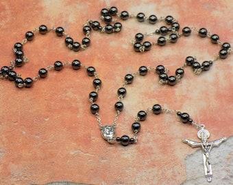 Hematite Rosary - Semi Precious Hematite 8mm Beads - Mary & Child Center Contains Soil from Jerusalem - Italian Silver Holy Trinity Crucifix