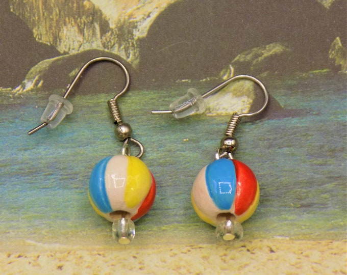 Beach Earrings - Beach Balls - Beach Umbrellas - Hula Girls - Palm Trees - All with Hypoallergenic Surgical Steel Ear Wires