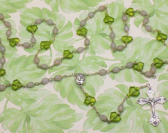 Ladybug & Leaf Rosary - Czech Gray and Silver Ladybug Crystal Beads - Czech Green Leaf Crystal Beads -Mary and Child Center-Italian Crucifix
