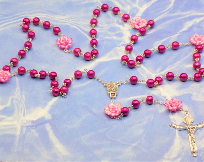 Pearl & Flower Rosaries - Hot Pink or Multi Glass Pearl Beads - Polymer Clay Flower Beads - Italian Fatima Centers - Italian Holy Crucifixes