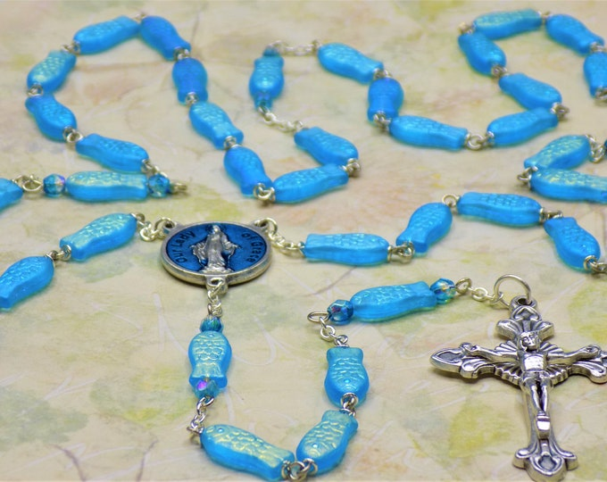 Fish Rosary - Czech Aqua Blue AB Fish Beads - Czech Aqua Father Accent Beads - Italian OL of Grace Center - Italian Sunburst Flare Crucifix