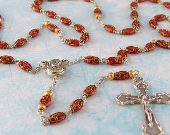 Czech Red Crucifix Bead Rosary - Czech Crystal Crucifix Shape Red Beads - Mary Center that Contains Jerusalem Earth -Italian Silver Crucifix