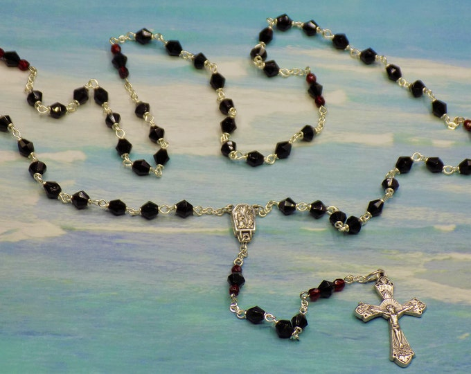 Birthstone Rosaries - January-Garnet, February-Amethyst, March-Aquamarine - Czech Crystal Beads - Lourdes Center - Italian Silver Crucifixes