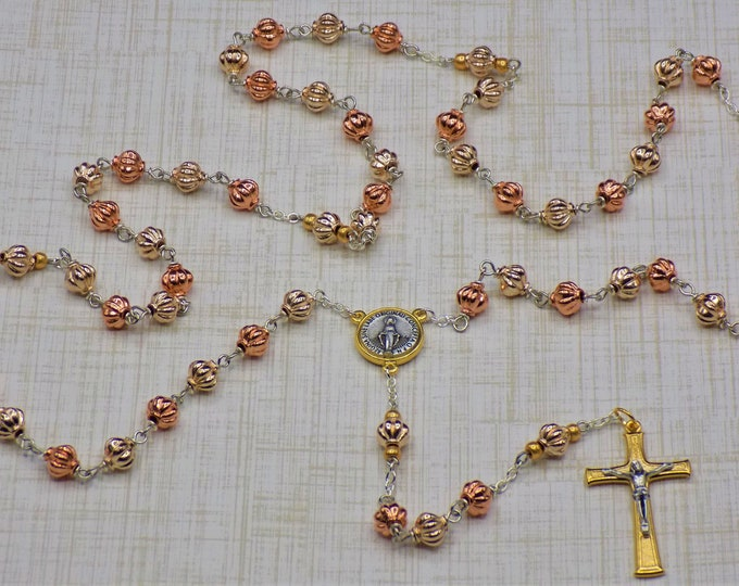 Metal Lantern Rosary - Gold and Rose Gold Shiny Metal Lantern Beads - Italian Immaculate Gold/Silver Center - Italian Gold/Silver Crucifix