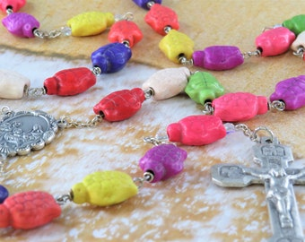 Multi Color Stone Turtle Rosary - Multi Color Stone Turtle Beads - Italian Our Lady of Fatima Center-Italian Stations of the Cross Crucifix