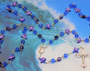 Dolphin Rosary -  Purple and Blue Dolphin Beads - Czech Blue & 2 Tone Amethyst Beads -  Medugorje Center with Soil - Italian Crucifix