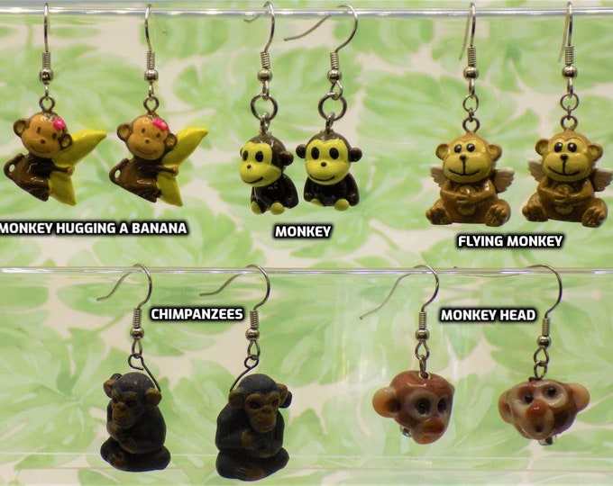 Monkey Earrings - Monkey with Banana - Sitting Monkey - Flying Monkey - Chimpanzee - Monkey Head - 5 Different Styles to Choose From