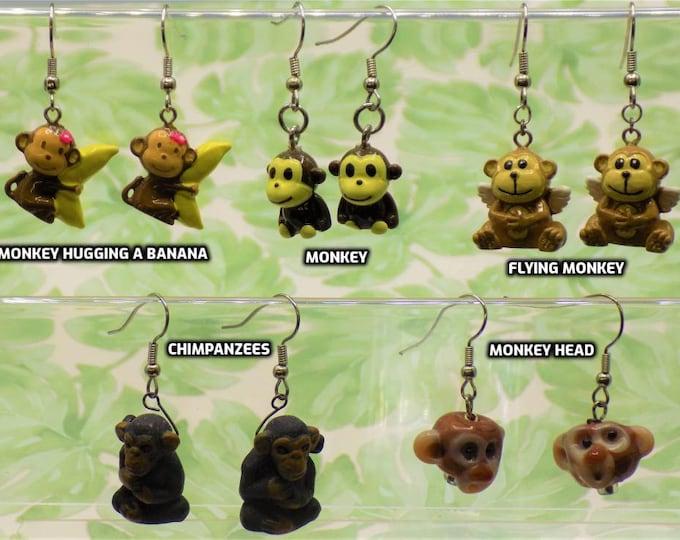 Monkey Earrings - Monkey with Banana - Monkey (Resin) - Angel Monkey - Chimpanzee - Monkey Head - Monkey (Ceramic)