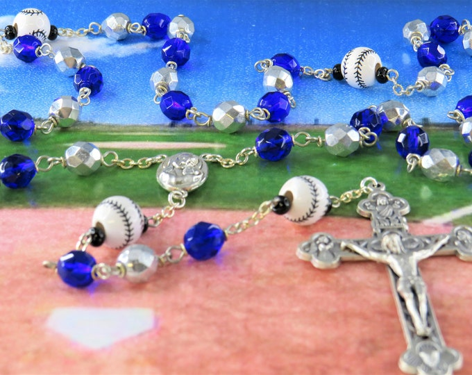 Baseball Silver and Blue Rosary - Czech Silver and Blue Glass Beads - Ceramic Baseballs -Mary and Child Center -Italian Eucharistic Crucifix